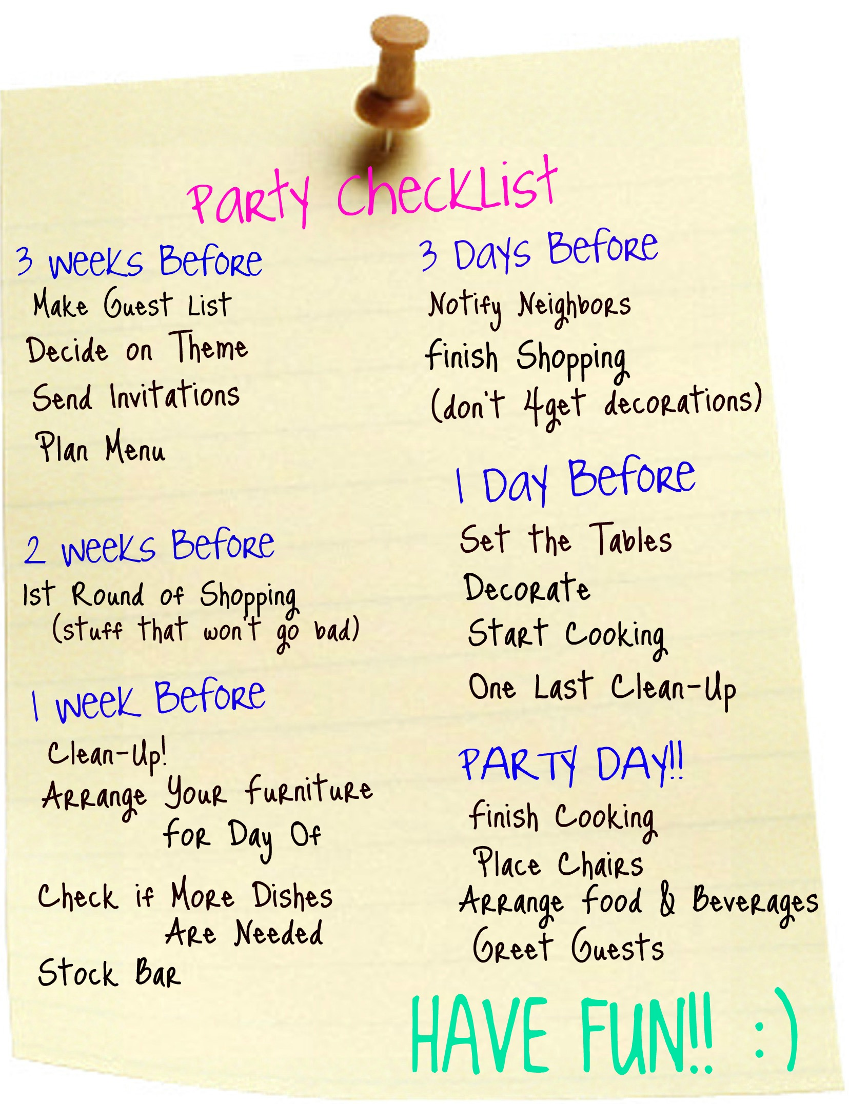 Party planner extraordinaire not so much for Party planning list