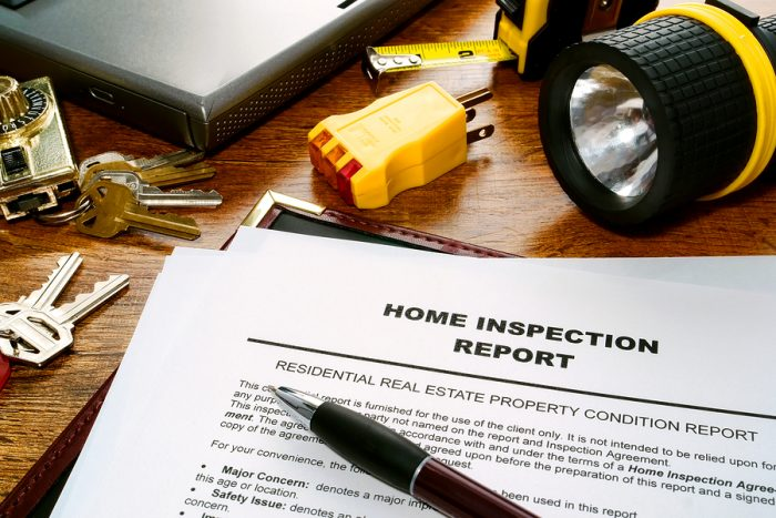 A copy of a real estate home inspection report.