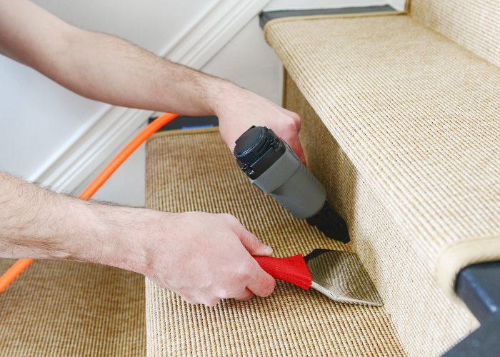 how to install a stair runner closeup