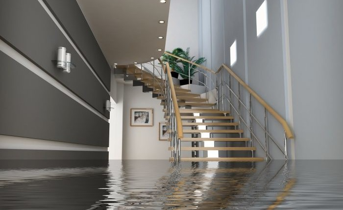 Modern home interior with stairs under the water.