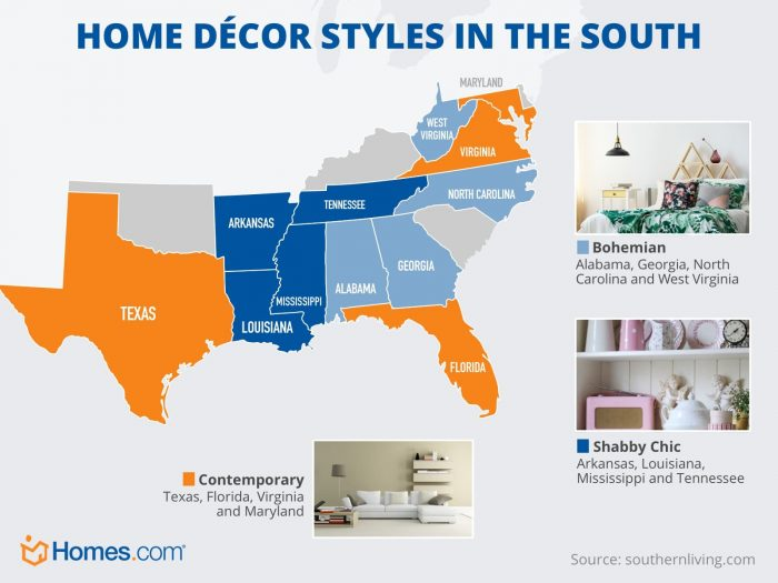 A map of the southern states highlighted by three home decor styles: contemporary, shabby chic, and bohemian.