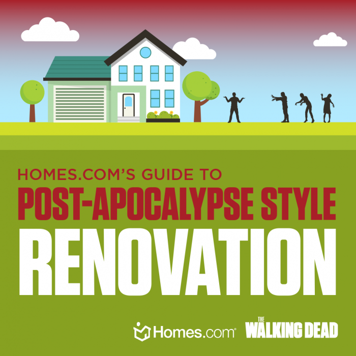"An animated graphic of a home with zombies that reads ""Homes.com's guide to post-apocalypse style renovation""."