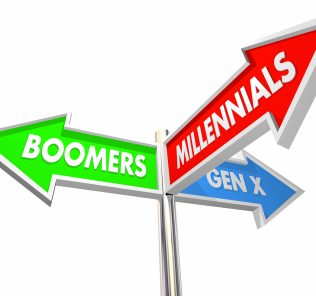 Millennials, Geration X, and Baby Boomers road signs 3d Illustration.