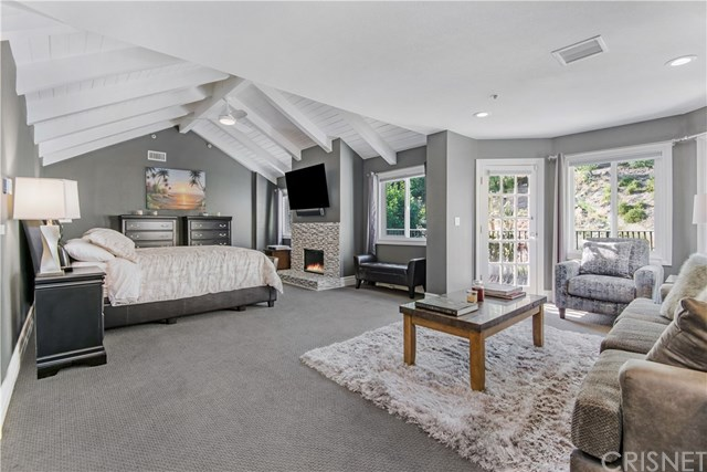 bedroom with gray and white accents