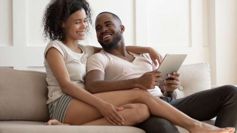 couple using computer to search