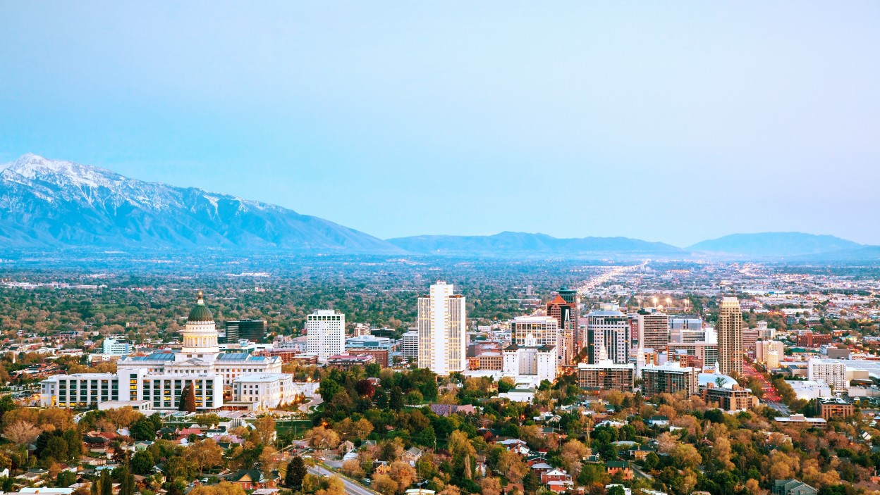 Salt Lake City overview in the evening