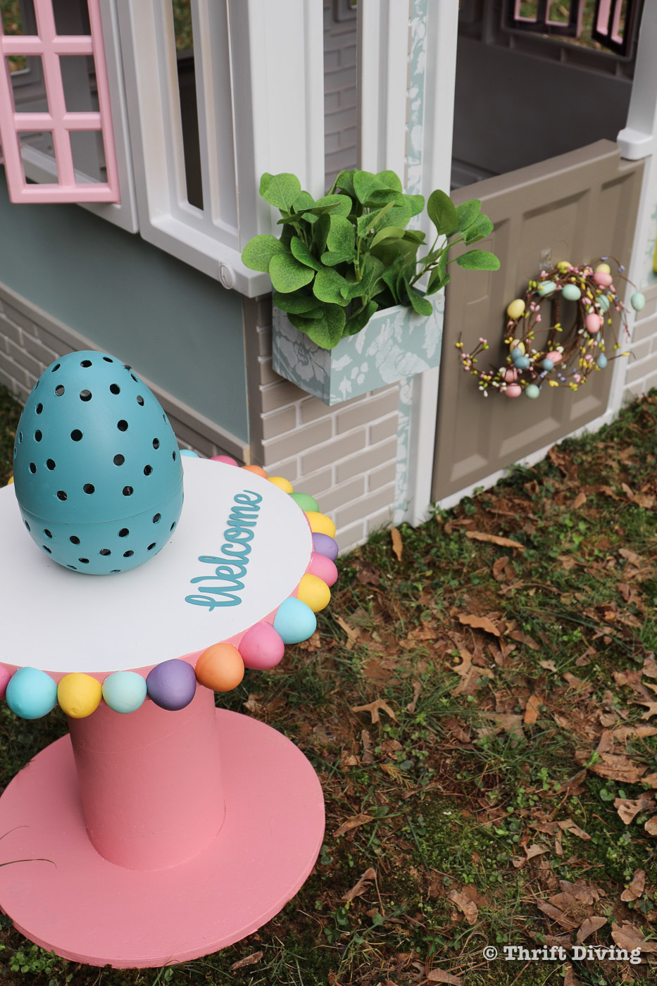 How to Paint a Plastic Playhouse - Playhouse Makeover - Thrift Diving-5