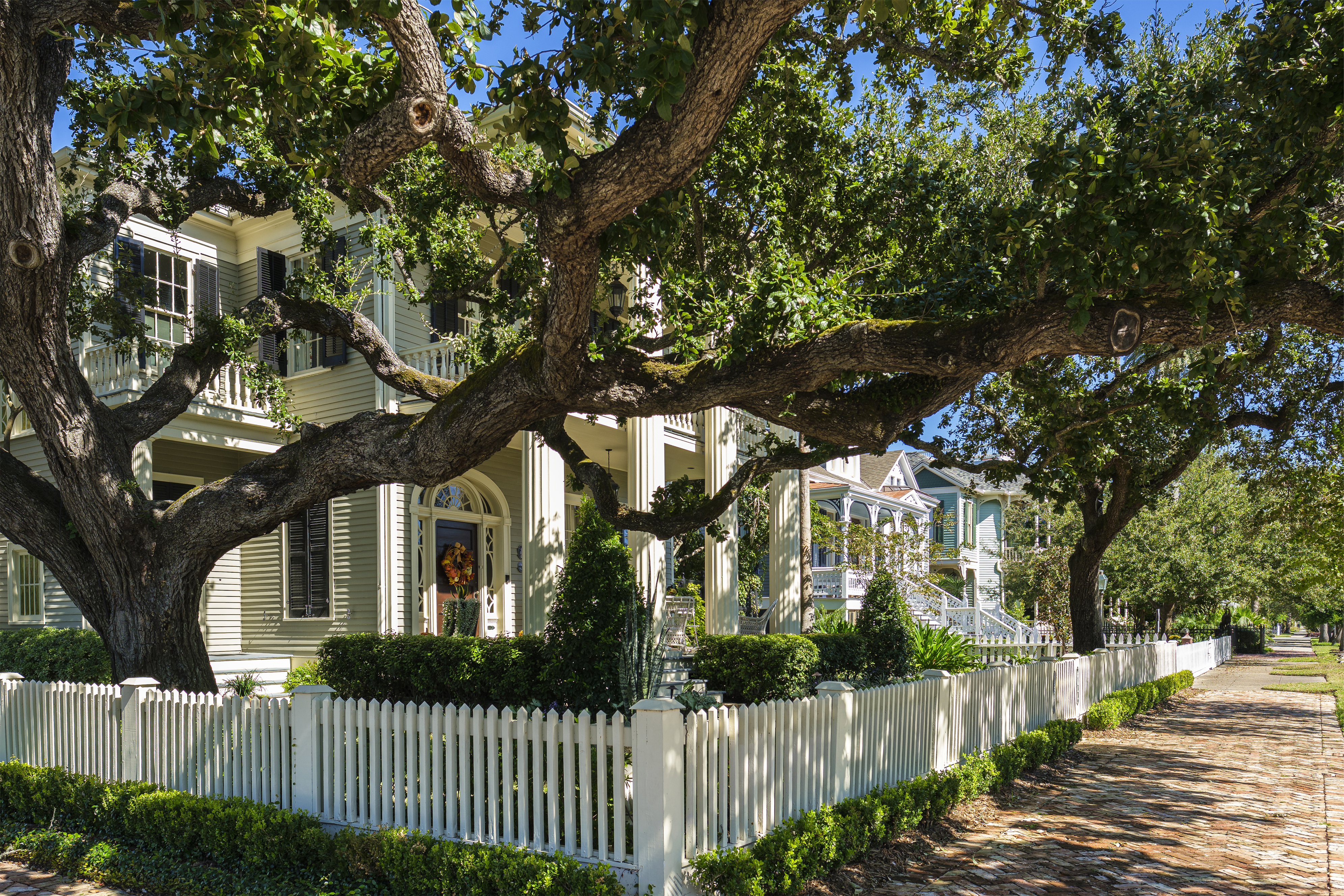 Galveston, Texas USA - November 3, 2019: The Silk Stocking Residential Historic District contains beautifully restored vintage homes of the Queen Anne architecture style.