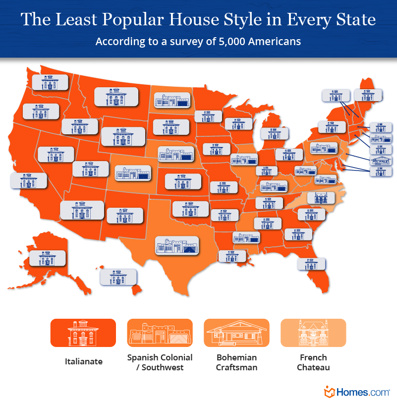 US map showing the least popular house style in every state